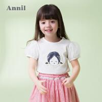 【3件3折:50.7】安奈儿童装女童泡泡袖圆领休闲短袖t恤夏装新款可爱甜美上衣