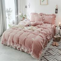 少女心床上四件套珊瑚绒兔兔绒法兰绒床裙保暖加厚公主风蕾丝被套 安妮 豆沙