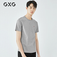 【21-22一件到手价:129】GXG男装 夏季新款灰色短袖T恤男士圆领刺绣潮牌潮流打底衫男