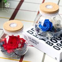 永生花蓝色妖姬七彩玫瑰花礼盒保鲜花玻璃罩浪漫情人节生日礼物