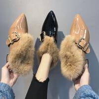 女鞋2018冬季新款小皮鞋英伦中跟加绒学院风百搭粗跟单鞋乐福鞋
