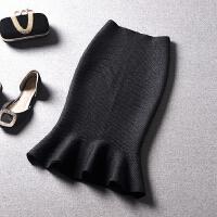 针织包臀鱼尾裙女中长款修身气质显瘦高腰韩版秋冬荷叶边半身裙子 腰围1.8-2.3尺可以穿