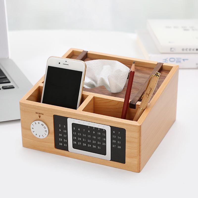 木质万年历笔筒创意时尚可爱多功能办公文具用品桌面收纳纸巾盒实木北欧个性简约
