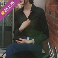 雪纺白衬衫女长袖2019春装新款韩版宽松白色职业衬衣v领上衣洋气
