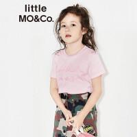 littlemoco男女童纯棉字母刺绣短袖套头T恤童装KA172TEE218 moco