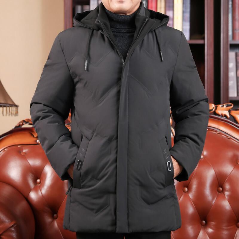 【秋冬新品】高档品牌40岁50中年男装中长款60爸爸连帽棉衣父亲大棉袄加厚外套