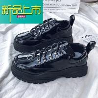 新品上市厚底小皮鞋男韩版潮流英伦松糕鞋子男潮鞋的增高老爹鞋男