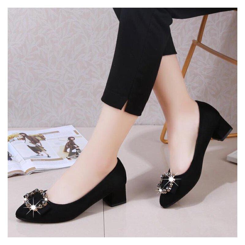 粗跟低跟3cm方扣水钻小清新高跟鞋女绒面工作职业黑色单鞋学生女