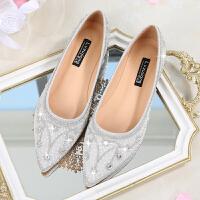 2018新品公主女冬季水钻银色平跟鞋新娘鞋宴会婚礼婚纱伴娘鞋 银色 水晶鞋 单里款