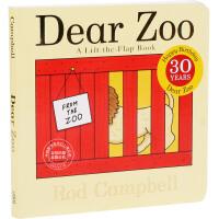 现货 Dear Zoo 英文原版 神亲爱的动物园 30周年纪念版 奇的动物园 纸板翻翻书 带立体机关 0-3岁 吴敏兰