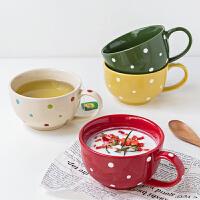 波点早餐杯陶瓷麦片杯日式碗牛奶马克杯燕麦杯大容量杯子带勺汤杯