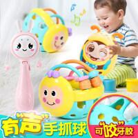 婴儿玩具手摇铃0-1岁女宝宝可啃咬拨浪鼓益智软胶3-6-12个月8男孩