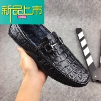 新品上市男士豆豆鞋潮流韩版19新款冬季真皮加绒休闲皮鞋纹百搭懒人