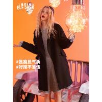 【2件2.5折:199】妖精的口袋赫本风黑色羊毛呢大衣女中长款2019秋冬季新款流行外套