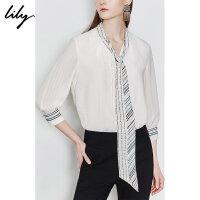 Lily2019夏新款女装复古韩版洋气条纹字母宽松套头雪纺衫衬衫8908