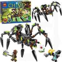 10075气功传奇 毒螯蛛的蜘蛛追踪机拼装积木 儿童玩具