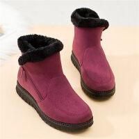 雪地靴女中年短筒加厚妈妈鞋平底滑中老年人短靴加绒保暖