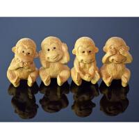 黄杨木四不猴 木雕手把玩件风水摆件 猴年吉祥物四勿猴茶宠车饰