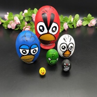 热卖俄罗斯进口蛋形六层套娃愤怒小鸟款益智玩具许愿娃