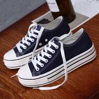 小白鞋松糕韩版休闲板鞋2018秋冬季新款平底帆布鞋女学生厚底