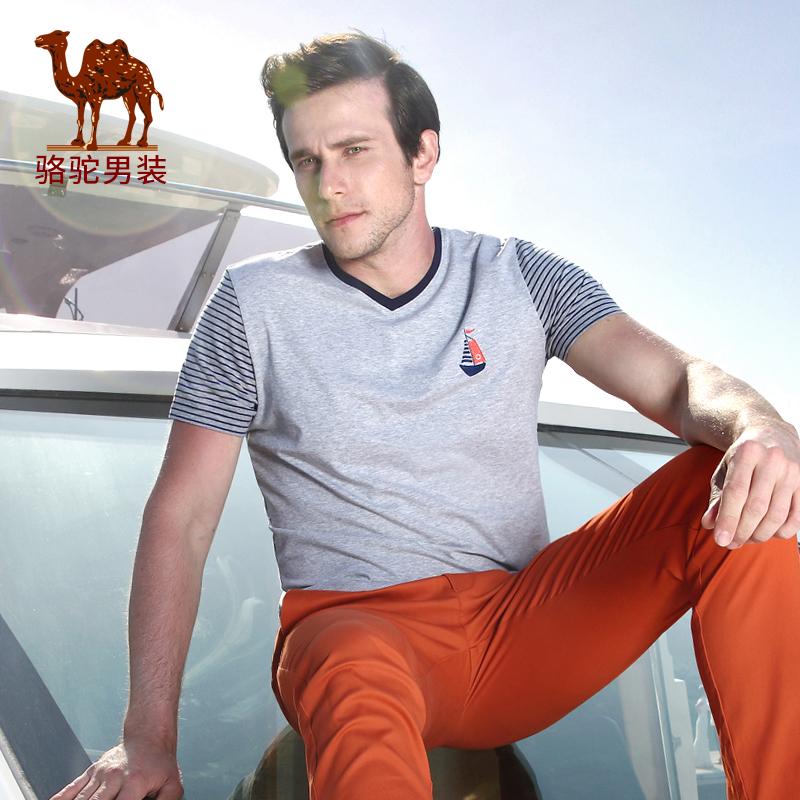 骆驼男装 夏季新款微弹修身时尚V领日常休闲短袖T恤衫 男士
