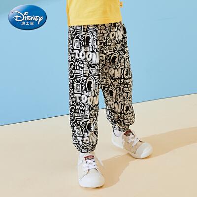 【99元3件】迪士尼男童夏款防蚊裤灯笼裤透气梭织宽松长裤正品童装夏季新款