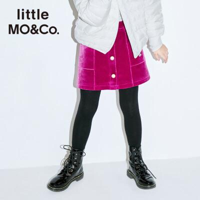 littlemoco秋冬新款女童半身裙短裙紫色丝绒半裙礼服儿童短裙裙子 华丽丝绒面料 贵气紫色