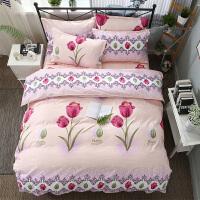 全棉四件套床上用品被套1.8m米单人学生床单三件套3寝室被单被子4 乳白色 郁金香