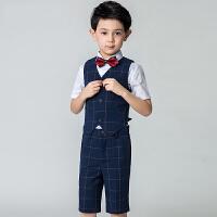 儿童西装小主持人男孩夏儿童礼服男童花童演出服婚礼马甲套装