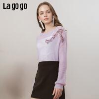 【清仓5折价188】Lagogo/拉谷谷2019春新款宽松珠片绣时尚针织衫女IAMM41ZG11