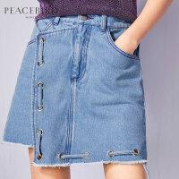牛仔半身裙春新款蓝色不规则a字裙系带不对称毛边短裙子太平鸟
