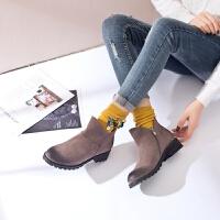 【秋冬新款】反绒牛皮圆头粗跟复古【真皮】短靴女士马丁靴
