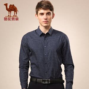 骆驼男装 新款修身波点长袖衬衫 商务休闲棉圆点衬衣 男