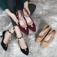 猫跟鞋女单鞋中跟2018春季珍珠一字扣浅口尖头小清新高跟鞋女细跟