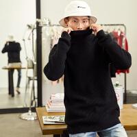 【1折价57.9元】唐狮冬装新款高领毛衣男韩版潮流学生套头修身休闲针织衫