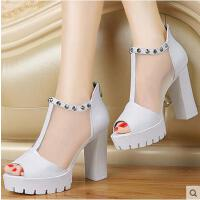 百年纪念网纱凉鞋 新款英伦女鞋厚底高跟鞋粗跟鞋子防水台1155