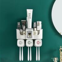 卫生间置物架刷牙牙刷杯子牙刷架套装牙杯漱口杯免打孔挤牙膏神器