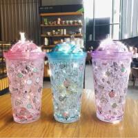 日系简约双层冰杯学生儿童吸管水杯带盖水果印花冷水碎冰礼品500ML塑料杯水杯杯子