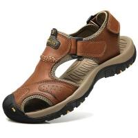 男鞋夏季包头凉鞋男真皮沙滩鞋户外休闲运动登山凉鞋