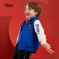 【4折�A估�r:74.8元】迪士尼男童棒球服秋冬新款加�q���膺B帽上衣卡通米奇�和�����外套