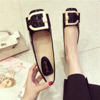 时尚韩版女士休闲复古舒适单鞋新款浅口方头平底女鞋黑