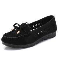 老北京布鞋平底鞋女休闲豆豆鞋夏季透气镂空女鞋女网鞋黑色 黑色 36
