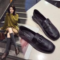 英伦风小皮鞋女新款方头黑色单鞋 韩版百搭粗跟女士单鞋潮复古低跟皮鞋