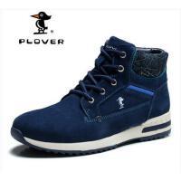 Plover男士加绒保暖雪地靴反绒皮短筒时尚男鞋户外休闲靴A25071