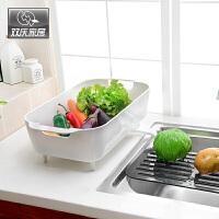双庆 厨房置物架碗架塑料沥水盘杯碟架多功能沥水架置物架塑料水果盆洗菜盆沥水篮沥水盆SQ9666
