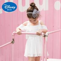 迪士尼童装女童连衣裙白色雪纺公主裙露肩吊带裙夏装2020新款裙子
