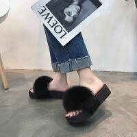 一字拖狐狸毛拖鞋女厚底皮毛一体防水台松糕底毛毛鞋平底拖鞋室外