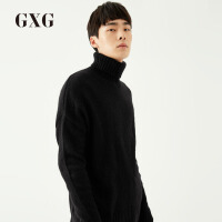 【GXG过年不打烊】GXG男装 秋季男士黑色时尚保暖宽松套头高领针织衫男#174810084
