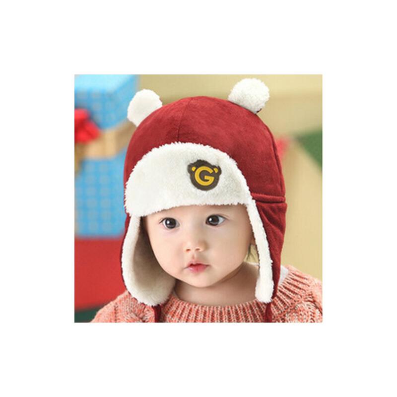 时尚百搭儿童童帽可爱潮男女宝宝加绒棉帽护耳保暖