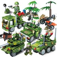 军事积木系列坦克装甲车摩托车小人仔人偶积木拼插拼装兼容乐高男孩子儿童益智启蒙玩具礼物